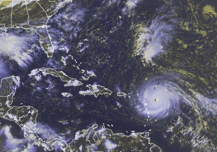 Powerful Hurricane Irma hits first Caribbean islands  -  September 6, 2017:  In this GOES-East satellite image taken Tuesday, Sept. 5, 2017 at 3:45 p.m. EDT, and released by the National Oceanic and Atmospheric Administration (NOAA), Hurricane Irma, a potentially catastrophic category 5 hurricane, moves westward in the Atlantic Ocean toward the Leeward Islands.