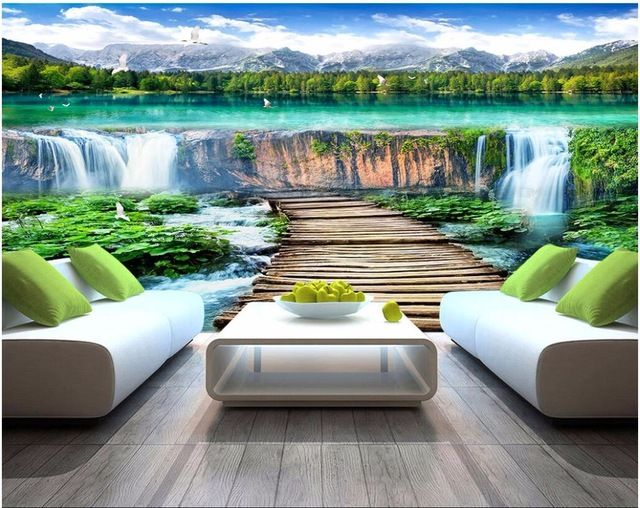 Custom Mural 3d Photo Wallpaper Mountain Water Lake Waterfall