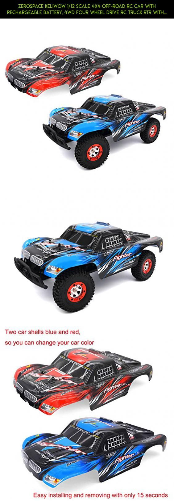 Zerospace Keliwow 1/12 Scale 4x4 Off-road RC Car with Rechargeable Battery, 4WD Four Wheel Drive RC Truck RTR with Two Car Shells Red and Blue #drone #gadgets #plans #products #road #camera #trucks #parts #traxxas #tech #technology #racing #off #shopping #fpv #4x4 #kit