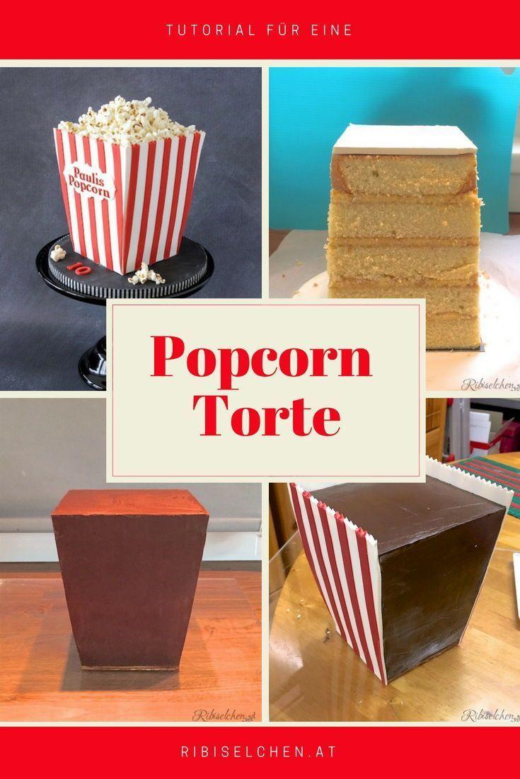 Anleitung für eine Popcorn-Torte, die aussieht wie eine Popcorn-Tüte! Perfekt …   – cake ideas