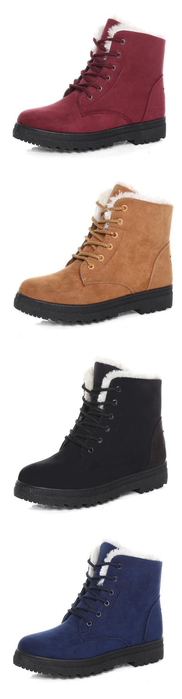 US$19.54  Women Keep Warm Flat Ankle Snow Boots