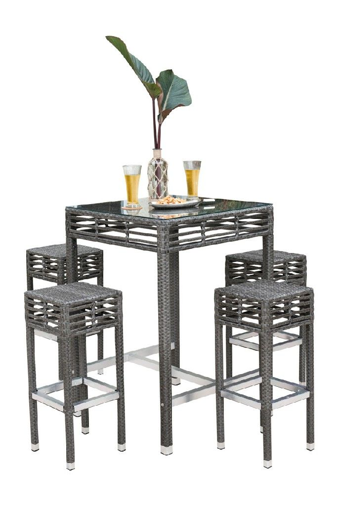 Panama Jack Outdoor Graphite Glass Dining Table Concrete Dining