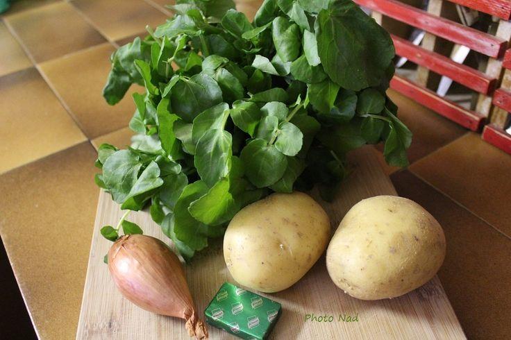 Velouté de Cresson à ma façon (Thermomix ou pas) Pour 2 personnes Ingrédients : - 1 botte de cresson- 2 petites pommes de terre- 1/2 carotte- 1 échalote- 1 noix de beurre- 1 bouillon cube de légumes- 2 c. à soupe de crème fraîche- Sel Recette : Equeutter...