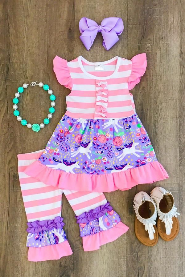 Our pink stripe unicorn capri set is simply stunning! A combination of pink and lavendar fabrics with ruffles and paired with matching capri pants. So stylish,