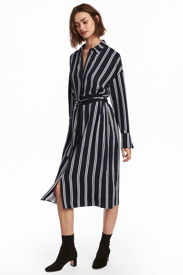 Blusenkleid | DunkelblauWeiß gestreift | DAMEN | H&M DE