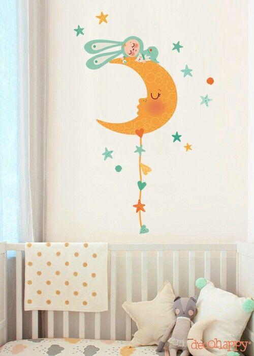 Dormido en la luna ♡ http://www.decohappy.com/vinilosinfantiles/