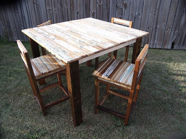 Reclaimed Cypress dining set - pub height