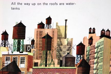 "illustration from Miroslav Sasek's vintage children's book, ""This is... New York"" showing a view of water tanks in a city scape"