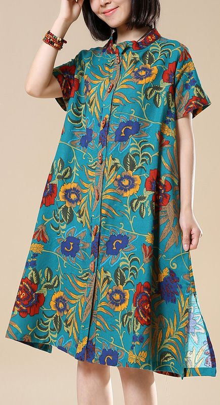 b7e88452a3e 2018 casual green prints cotton shirt dresses plus size linen mid tops