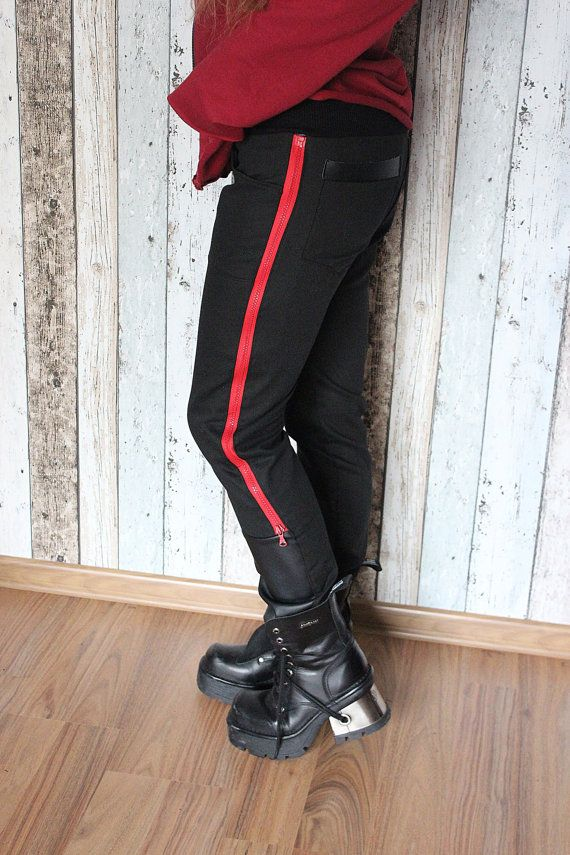 """Handcrafted pants with 2 long zips and comfy ribbing around the waist. Finished with eco leather on the legs. One of a kind. The only one in the world like it. As unique as you!!! Made from BIO cotton (denim).  Waist: universal Hips: 86 – 89 cm (34 – 35"""") Thigh: up to 51 cm (20"""") Length: 102 cm (40"""")  FREE SHIPPING WORLDWIDE"""