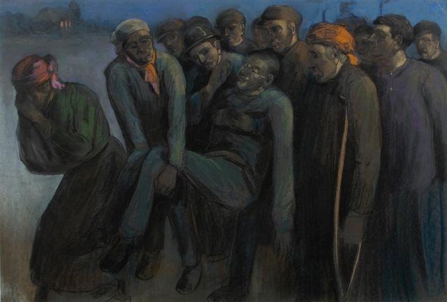 Vervoer van een gewonde mijnwerker   Herman Heijenbrock