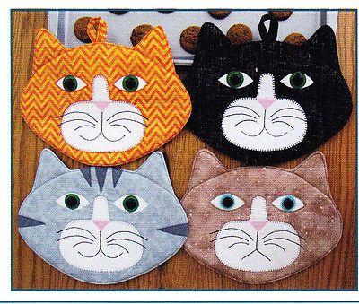 PATTERN - Allie Cats - cute applique mug rug or potholder PATTERN - Susie Shore