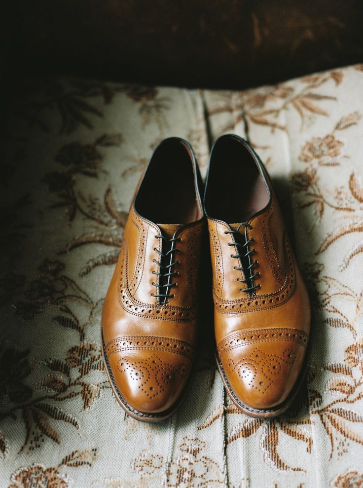 Casual Neat Brown Leather Grooms Shoes