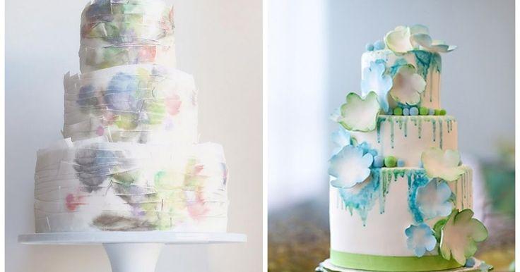 Акварельные свадебные торты