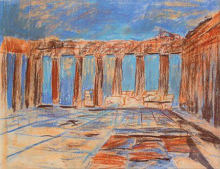 Louis Kahn Sketches | Louis Kahn, Interior, Parthenon, Acropolis, Athens, Greece, 1951 ...