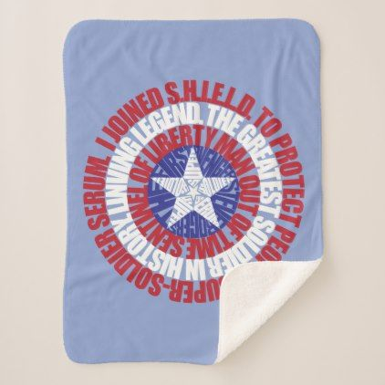 #Captain America Alias Typography Shield Sherpa Blanket - #marvel #comics & #movies #gifts