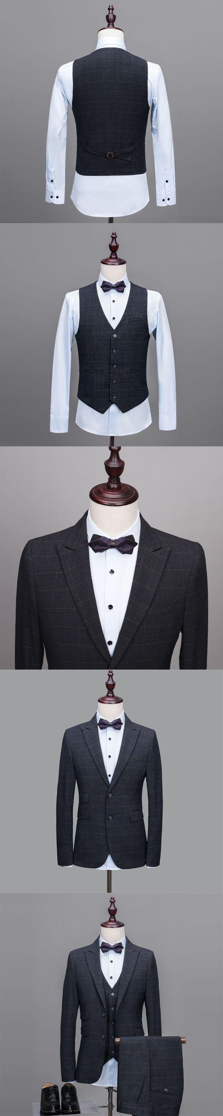 Latest Coat Pant Designs Dark Grey Tweed Suit Men Pattern Formal Prom Blazer Gentle Modern Groom Custom Tuxedo 3 Piece Terno nm