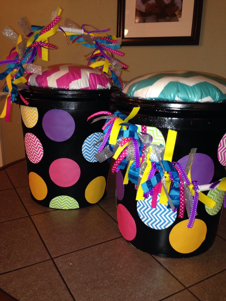 5 gallon bucket seats. Made for my classroom but can be used at home for kids too! Cheap and easy to make. All you need are buckets, spray paint, fabric, contact paper-clear (to go on top if fabric, easy to clean), stuffing and gorilla duct tape. Decorations optional.