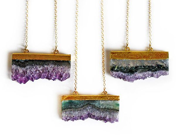 The 9 Prettiest Jewelry Trends To Buy Yourself This Valentine's Day - Agate Geode And Druzy - Redbook    Amethyst Druzy Elongated Slice Necklace, $70; Kei Jewelry.