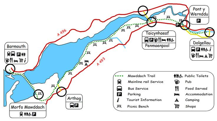 Mawddach Trail Map - Railway Walk from Dolgellau to Barmouth in Wales. Most beautiful scenery every way you look for the whole ten miles. Amazing.