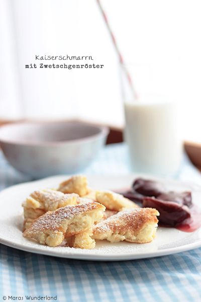 Kaiserschmarrn (pancake) with plum compote (page in German, English recipe at bottom of post)