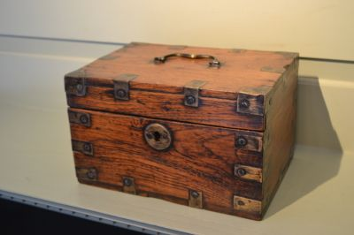 "Anglo-Indian brass bound box with interior till, 19th century. L.9.5"", h. 5.5"". $225."