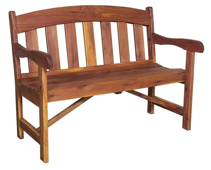 Amish Cedar Wood Arched Back Garden Bench Let the natural shades of cedar wood brighten your outdoor decor with this eco friendly bench that is chemical free and American made.