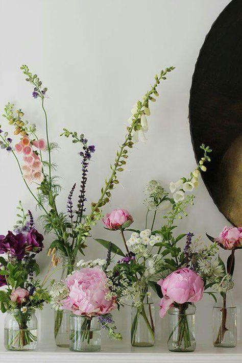 Simple jars, wildflowers & blooms