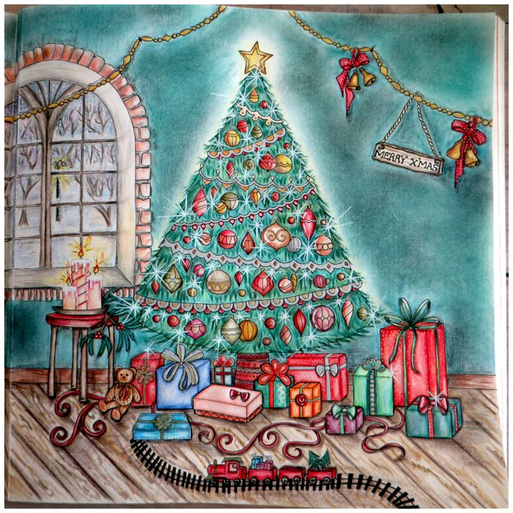 Johannas Christmas Coloring Book Tree In The Living Room With Presents And A Toy Train