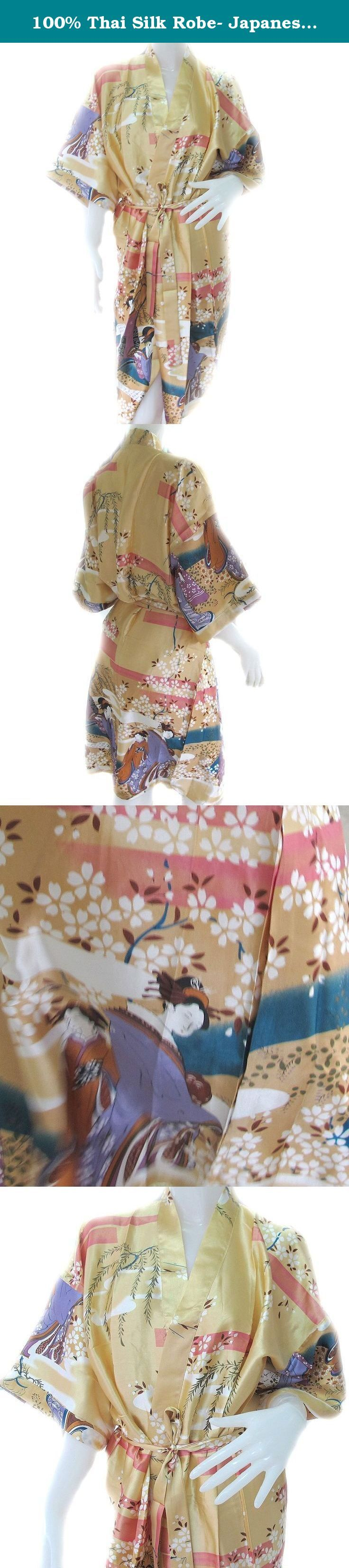 100% Thai Silk Robe- Japanese Geisha Design- Beige Color. rand New. Enclosed in plastic before shipping. 100% Thai Silk. These are the extra-large sleeved, robes. These robes are extremely popular items in the Thai markets. Possibly, the most unique and beautiful item you may ever give or receive!!! The same item found in the highest quality specialty shops and boutiques for 2-3 times the price. 100% Guaranteed. Ships to you DIRECT from Thailand. Expect 1-2 weeks for expedited delivery…
