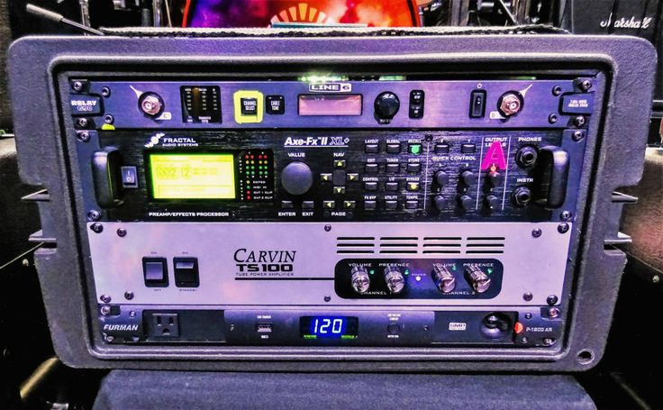 Vai's 2016 rack certainly bears no resemblance to the towers of electronics that he used in the 80s and 90s. But, that's largely because the Fractal Audio Axe-FX II XL+ does it all! Steve uses the Fractal for all of his effects, aside from wah and overdrive, through the effects loop of his Carvin Legacy head. The Carvin TS100 tube power amp takes the line out signal from his heads and runs it into two Carvin 1x12, 60-watt monitors in front of Steve. There's also a Furman P-1800 AR power…