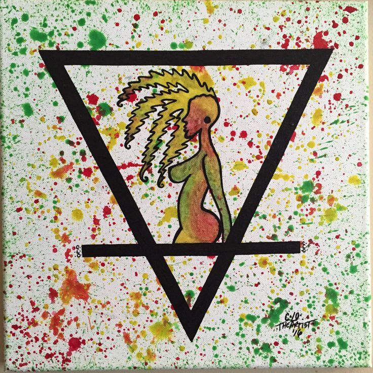 Woman of the Earth/abstract/tribal/wart symbol/splatter/watercolor/ink/jamaican colors by CLoTheArtist on Etsy