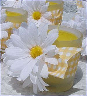 Yellow candles with daisies and yellow gingham... perfection...just use sunflowers