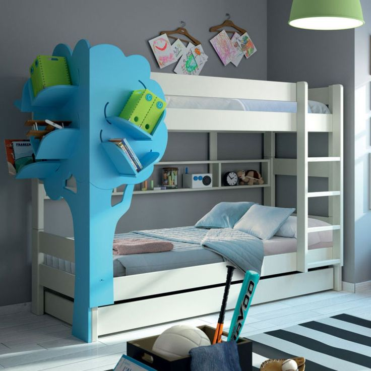 Mathy by Bols Dominique Bunk bed 90 x 200 cm with Tree bookcase and trundle bed : This gorgeous bunk bed Mathy By Bols Dominique with Tree Bookcase and trundle bed is unique and original space-saving bed. It is perfect for sleepovers, as you get three beds in one ! You can pull the trundle out bed very easily thanks to its casters. Ingenious, when your #children have grown into teenagers, you can separate the bunk beds into two single beds (individual height 59 cm). Handmade in Belgium, t...