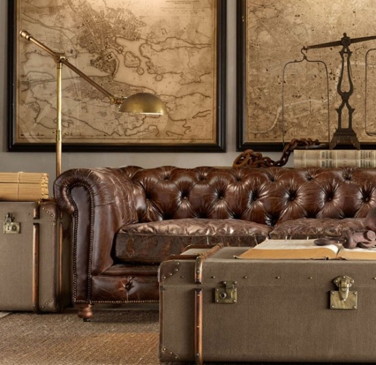 industrial: brass lamps, trunks/chests, Chesterfield sofa, framed antiqued maps, BALANCE SCALE (top right) as accessory. Good colour scheme