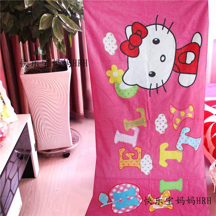 Kawaii Hello kitty Soft Absorbent travel beach towels swim spa bath towel for baby kids adults gifts bathroom Textile 155X75CM