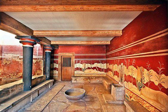 Palazzo di Cnosso - Sala ristruttutata con dipinti