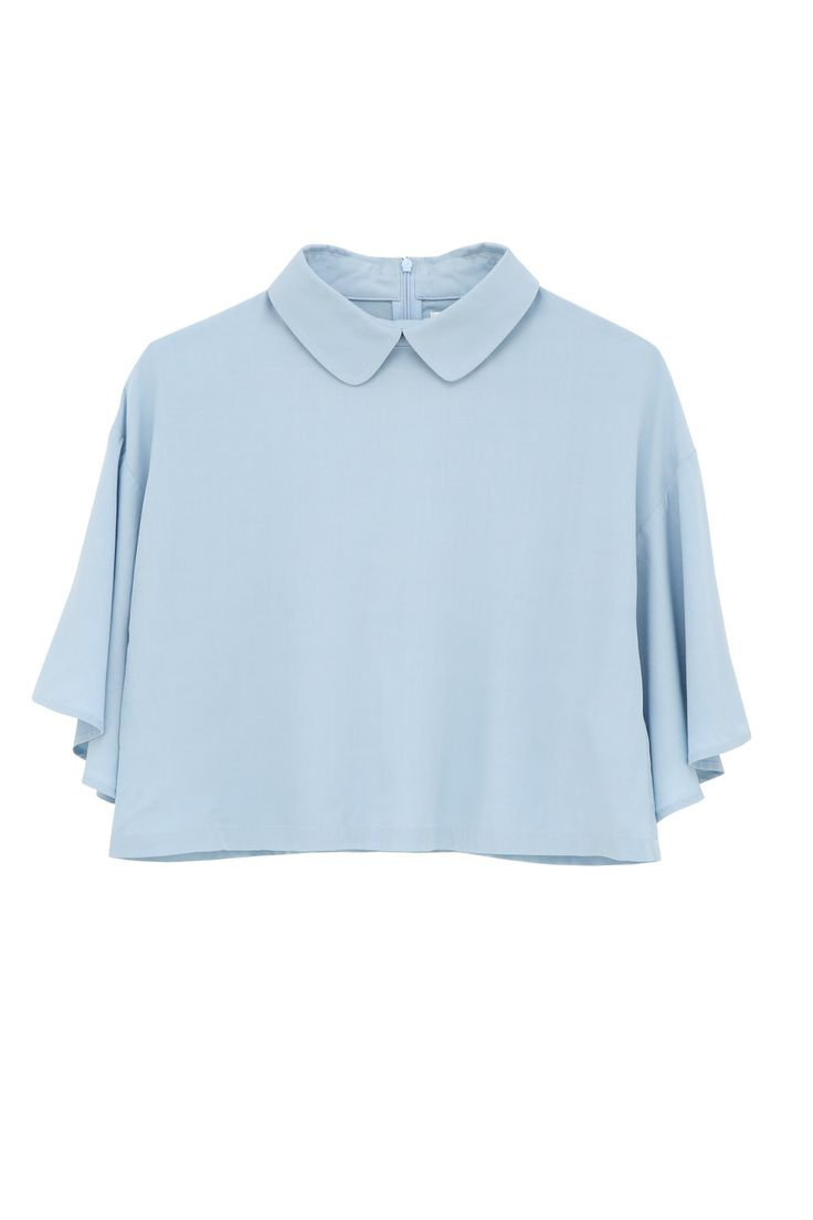 Bell Sleeve Angel Crop Top Light Blue  http://www.thewhitepepper.com/collections/tops/products/bell-sleeve-angel-crop-top-light-blue