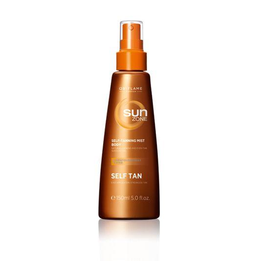 Spray Autobronceador Corporal Sun Zone (23377) Refrescante autobronceador corporal en spray de textura ligera. Se seca al instante dejando tu piel hidratada y con un fantástico tono bronceado natural progresivo 3 horas después de su aplicación.
