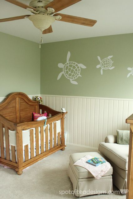 Gender Neutral Sea Turtle Baby Nursery Reveal: Greens, creams and light browns | spotofteadesigns.com