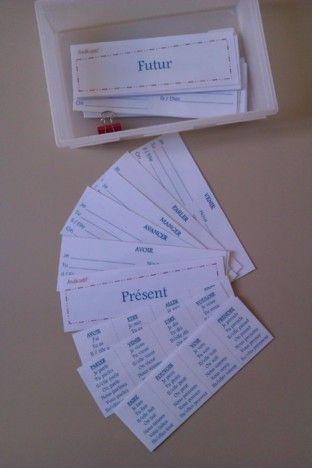 Voici des petites fiches à plastifier et sur lesquelles les élèves peuvent conjuguer les verbes à tous...