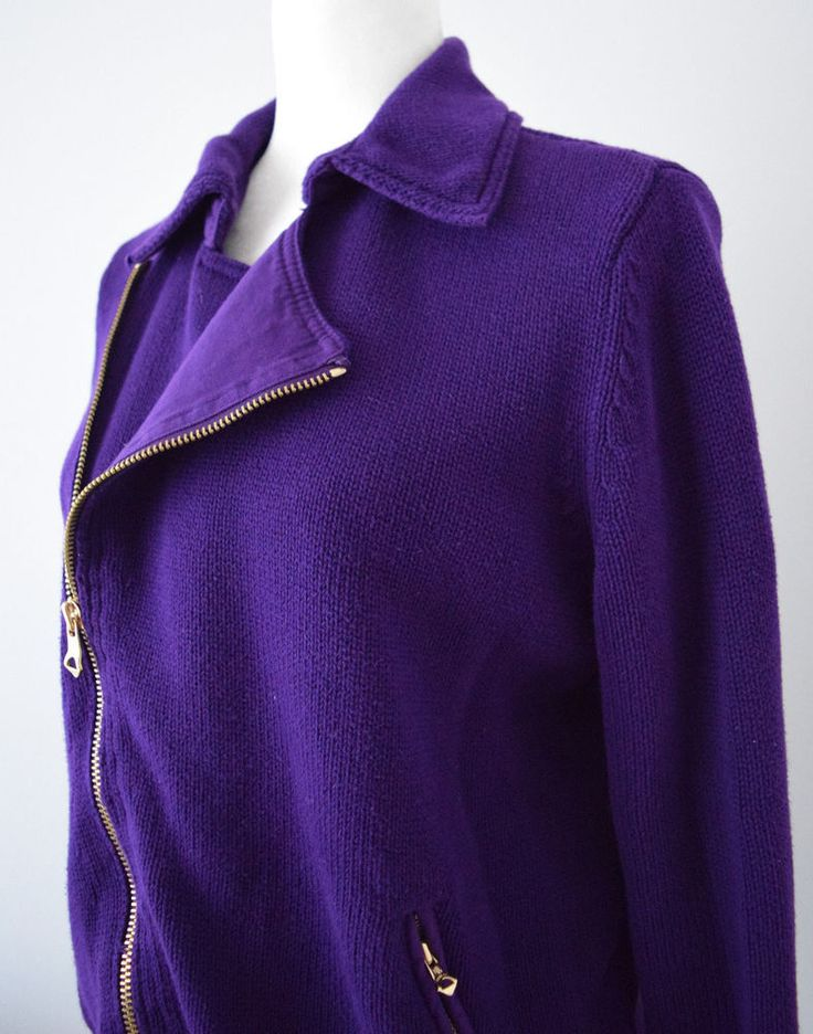 Lauren Jeans Company Ralph Lauren Women's Purple Sweater With Zipper Size XL #LaurenRalphLauren #FullZip