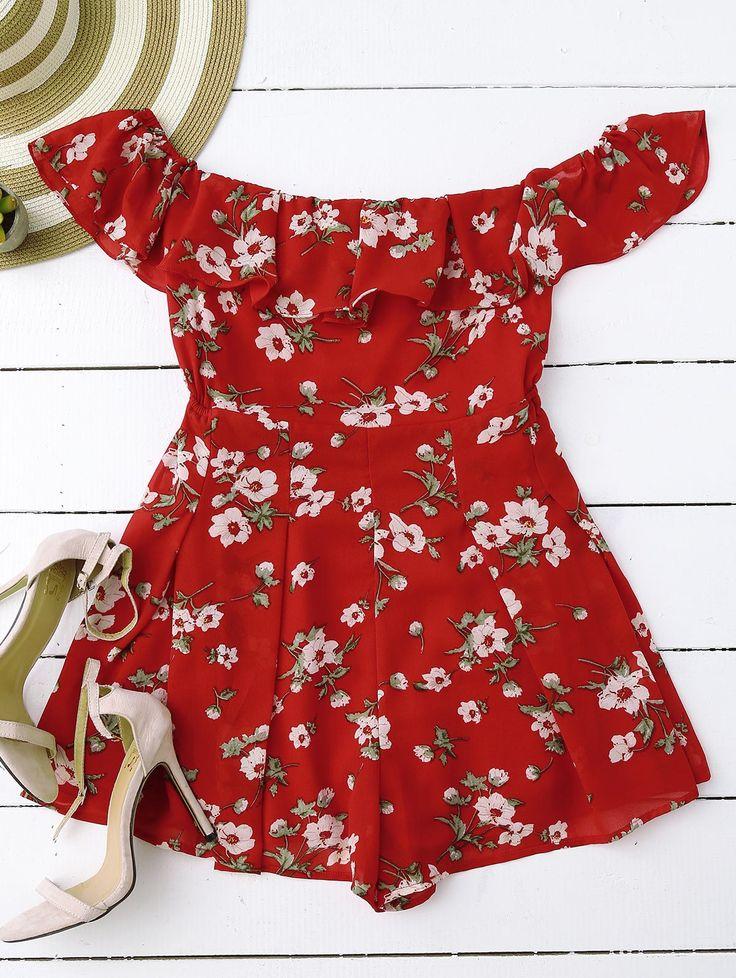 Encolure Floral Jupette Romper Rouge: Combinaisons & Salopettes S | ZAFUL