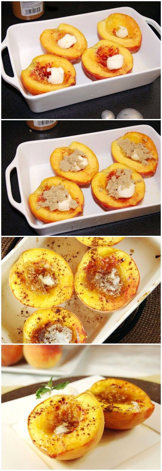 Brown Sugar Baked Peaches. 1 fresh peach 1 tsp. unsalted butter, divided 2 to 4 tsp. brown sugar, divided Sprinkling of ground cinnamon, to taste Directions 1. Halve peaches and remove pit. Place in baking dish, skin side down. 2. Place 1/2 teaspoon butter in the hollow of each peach, top each peach half with 1 or 2 teaspoons brown sugar, and sprinkle with cinnamon. 3. Bake at 375 degrees until peaches are tender, about 30 minutes. Serve warm.