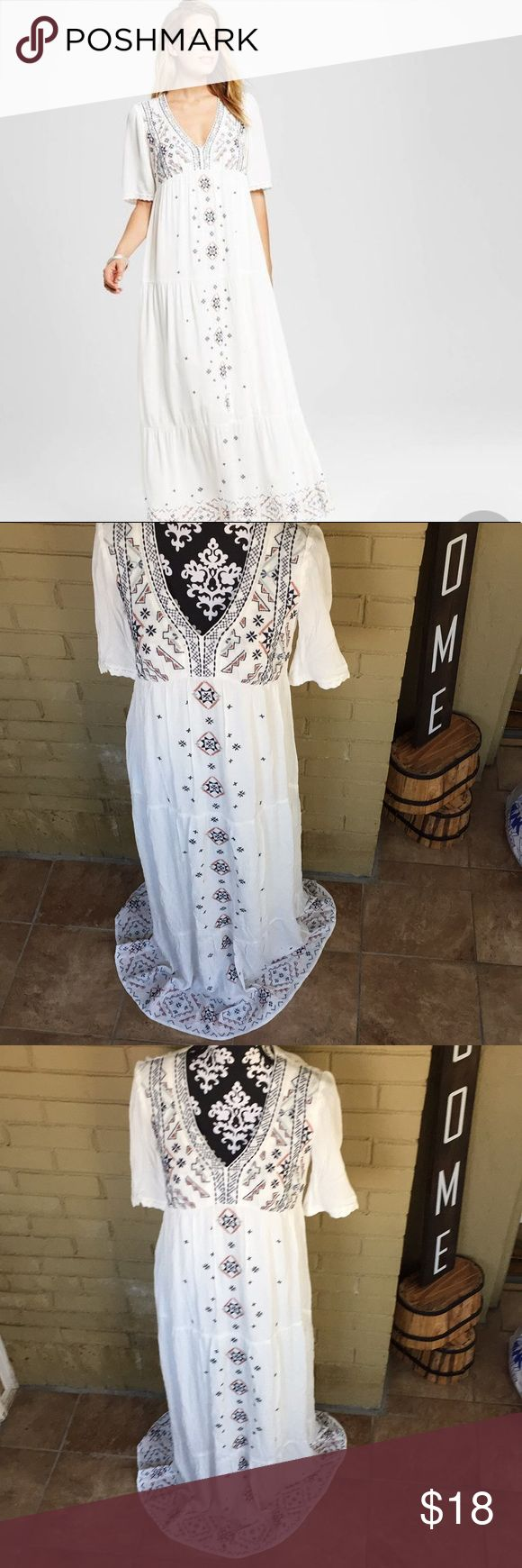 Embroidery Maxi Dress from Target Maxi Boho inspired ivory with embroidery of blue mint green and pink and coral very flowy fits between xs/ small Knox Rose Dresses Maxi