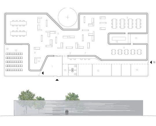 Mediatheque - book and new media library - floor plan and elevation by Studio ST