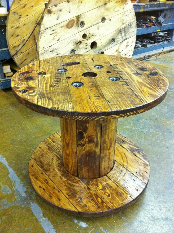 Cable spool coffee table diy table pinterest for Cable reel table
