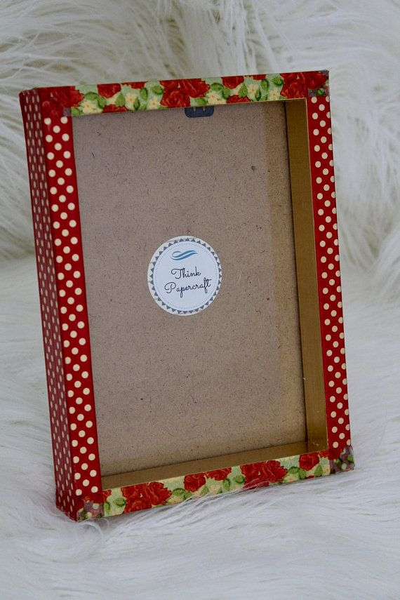 Red Flower Polka Dot Floral Decorated Photo Picture Frame 5x7 Inches 13x18 Cms Mother S Day Housewarming Birthday Or Gardener Gift Red Flowers Frame House Warming
