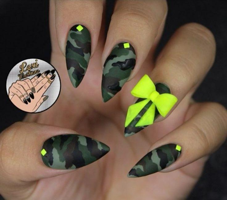 Camo stiletto nails