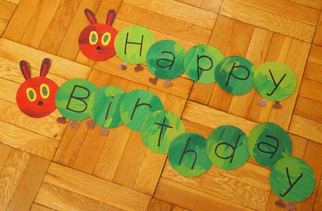 happy birthday banner: cut circles out of cardboard, paint with craft paint, write letters with sharpie